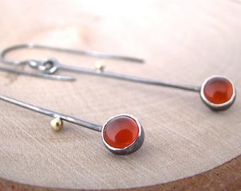 Twig Carnelian Dangle Earrings Sterling Silver 18 Karat Gold Earrings Two Tone Drop Earrings Artisan Made Handmade Metalsmith