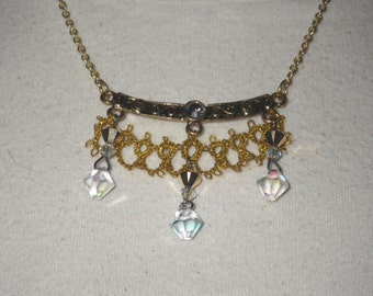 Tatted Pendant/Necklace, gold metallic thread with gold and AB Swarovski crystals, handmade lace