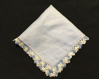 Vintage Blue Ladies' Hankie/Handkerchief with Blue and White Crochet Trim