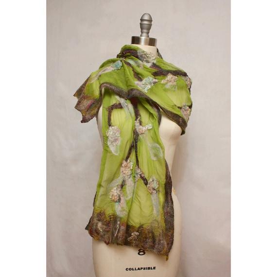 Nuno Felted Shawl on Silk  Tree of Life Art to Wear