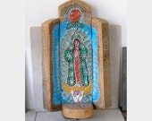 Guadalupe Nicho Retablo Wall Hanging- Our Lady of Guadalupe- Religious Folk Art Wall Hanging