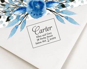 Custom Address  Stamp - self inking with built-in ink pad or wood handle for stamping return address - nautical theme - Carter Design