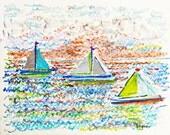 "Sailboats 10 (9"" x 12"")"