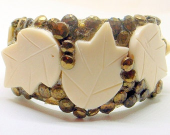 Vintage Brutalist Bracelet - Brass Cuff With Carved Leaves - Copper - Wide - 1970's - 6-7 Inch Wrist
