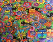 Laurel Burch Fanciful Felines Cats All Over RARE 1 Yard