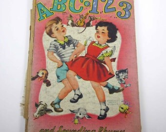 ABC 123 and Sounding Rhymes Vintage 1940s Childrens Book Illustrated by Florence Sarah Winship