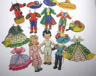 Vintage Dolls From Storyland Paper Dolls Little Girl and Boy Dolls with Outfits