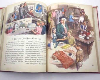 Your Town and Mine Vintage 1940s Children's Oversized Reader or Text Book by Ginn & Co.