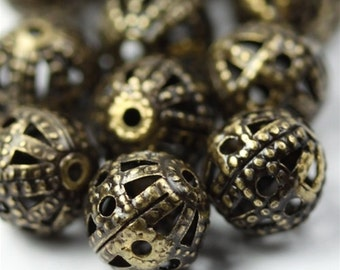 Beads Metal Filigree 6mm Round Antique Brass (10) M018