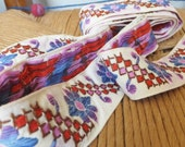 "Vintage 1960's Wide Embroidered Trim Hippie Trim Swedish Trim Folk Trim Purple Red Trim Floral Trim 1 3/8"" Wide Trim"
