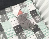 Mint Grey and Black Patchwork Baby Blanket-2 sizes available