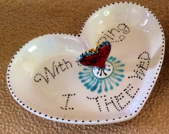 Taos Heart Ring Bowl for Bride and Groom, with Tattoo Sacred Heart Red Turquoise Black and White