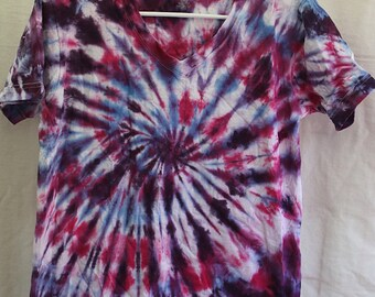 Tie Dye Shirt - Small Adult -  V-Neck - Short Sleeve -Light Blue, Purple and Pink - 100% Cotton