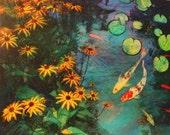 Summer rain, 16x20 inches by 1/2 inches deep, mixed media photograph, Koi ponds, Koi art, art, original art, handmade