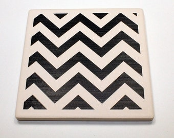 Cheveron ceramic coaster