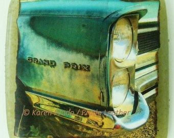 GRAND PRIX original Photo Tile, recycled glass, Muscle Cars, Detroit, wall art, rte 66, lowrider, car club, photography