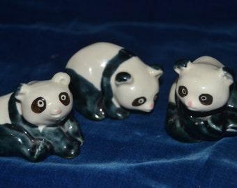 Set of 3 Vintage Panda figurines China