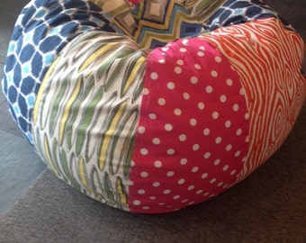 NEW Surfer Girl multi print bean bag with surfboards, pink polka dot, orange wood zebra, tropical floral and ikat
