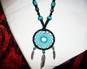 Turquoise Hemp Dreamcatcher Necklace - Black and Blue Native American Dream Catcher Hemp Necklace with Gemstone Beads - Hemp Jewelry