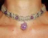 Raw Amethyst Wire Wrapped with Gemstone Beads Hemp Choker Necklace - Wire Wrap on Brazillian Amethyst Point - Natural Hemp Jewelry