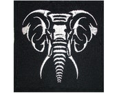 Neon Tribal Elephant Face Patch - Handmade Embroidery Design By Psysub - Iron on Sew on Patch - Tribal Elephant Patch