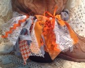 Boot bling! Boot accessory. Tennesse Vols. Orange and white. Support your team!