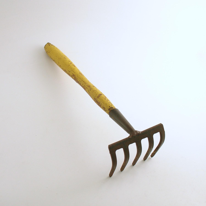 Vintage garden tool hand rake cultivator rustic farmhouse wood for Garden tiller hand tools