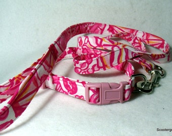 Handcrafted Lilly Pulitzer Pink Sailor Valentine Dog Collar & Leash Set