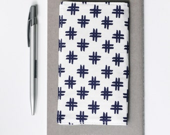 SALE - Modern Checkbook Cover, Navy and White Fabric Check Book Holder, Gift for Teen, Student, Coworker