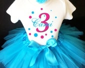Black Bright Hot Pink Polka Dots Dotted Bubbles Monogram 3rd Third Girl Birthday Tutu Outfit Custom Personalized Name Age Party Shirt Set