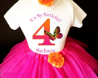 Butterfly Monarch Rainbow Pink Orange Pretty 4th Girl Birthday Tutu Outfit Custom Personalized Name Age Party Shirt Set