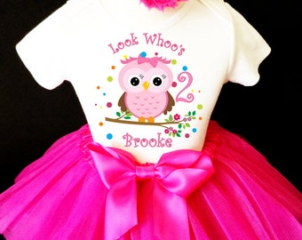 Owl Look WhOO's Whos Who's Hot Pink Rainbow Polka Dots 2nd Second Girl Birthday Tutu Outfit Custom Personalized Name Age Party Shirt Set