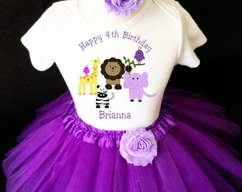 Zoo Animal Lion Giraffe Zebra Lavender Purple 4th Girl Birthday Tutu Outfit Custom Personalized Name Age Party Shirt Set