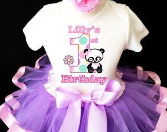 Panda Flower Polka dots Lavender Light Pink Purple 1st First Girl Birthday Tutu Baby Outfit Custom Personalized Name Age Party Shirt Set