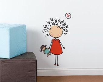 Curly cutie - Wall Decal - Wall Sticker