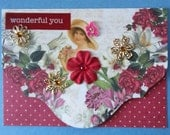 Assemblage collage greeting card single #3~Woman with flowers