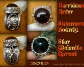 Cerridwen Favor Summer s bounty 34 ct star garnet Pentacle moon and Owl