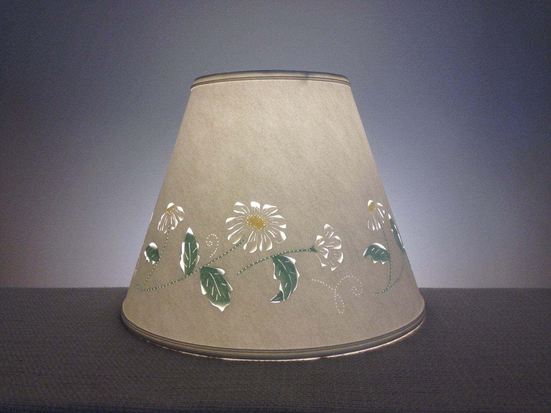 Paper Lamp Shades : Daisy cut pierced paper lampshade daisies shade lamp