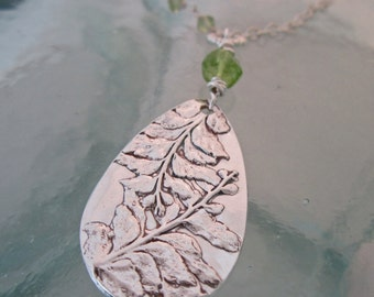 Handcrafted Natural Fern Necklace in Silver with Peridot