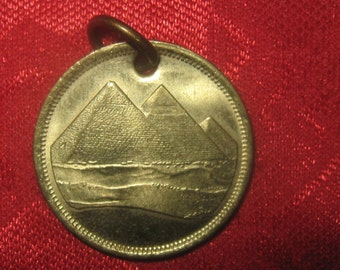 Authentic Gold Egyptian Pyramid Coin Pendant Necklace