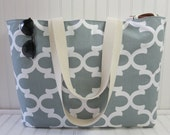Beach Bag Extra Large - Big Gray Beach Tote - Water Resistant Lining - Interior Pocket - Grey Beach Tote