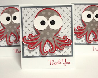 Octopus Note Cards - set of 6