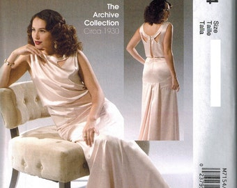 1930s McCalls 7154 Sewing Pattern Vintage Style Sizes 6-8-10-12-14 Elegant Evening Gown Art deco style Retro
