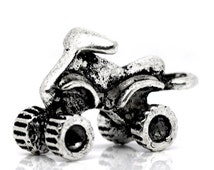 Antique Silver Atv 4 Wheeler Charm Drop with Loop 20x13mm (4) ymc012A