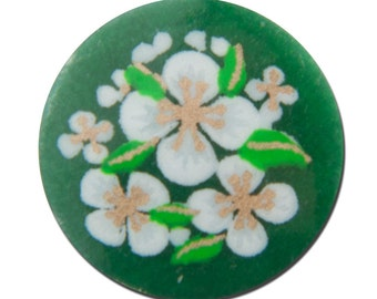 Vintage Green with White Flowers Cabochons Japan 13mm cab380C