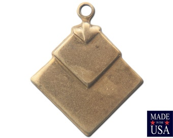 1 Loop Raw Brass Deco Layered Square Connector Pendants  (6) mtl407B