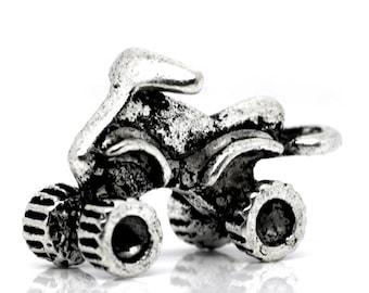 Antique Silver Atv 4 Wheeler Charm Drop with Loop 20x13mm (4) ymc012A