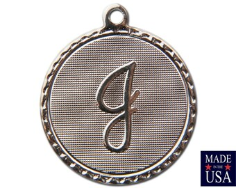 Silver Plated J Letter Charm Drop with Loop (1) chr221J