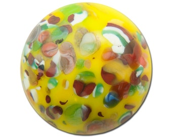 Vintage Yellow Millefiori Glass Cabochons 15mm (2) cab484D