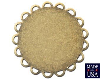 Brass Ox Lace Edge Round Flat Pad Settings 22mm (10) stn030BB